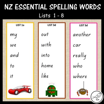 New Zealand Essential Spelling Lists – Cards