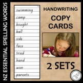 New Zealand Essential Spelling Words – Handwriting Copy Cards