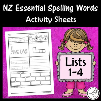 New Zealand Essential Spelling Words – Activity Sheets for Lists 1-4