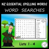 New Zealand Essential Spelling Words – List 1-4 Word Searches