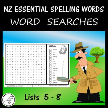New Zealand Essential Spelling Words – Lists 5-8 Word Searches