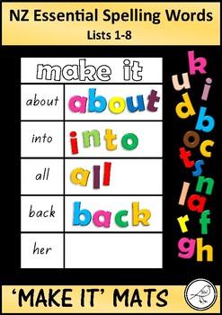 New Zealand Essential Spelling Words - 'Make it' mats