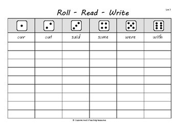 New Zealand Essential Spelling Words – 'Roll, Read, Write' activity