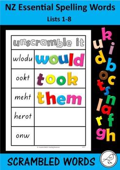 New Zealand Essential Spelling Words - 'Unscramble it' mats