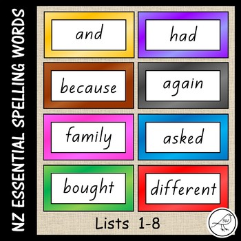 New Zealand Essential Spelling Words – Word Cards