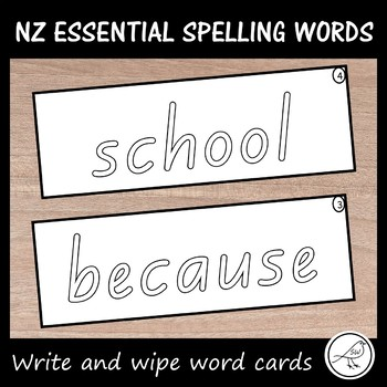 New Zealand Essential Spelling Words (Lists 1-4) Write and wipe cards
