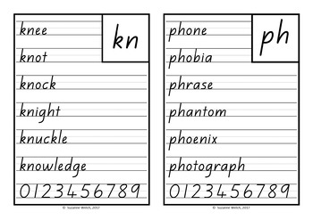 New Zealand Handwriting Copy Cards – blends, digraphs and trigraphs