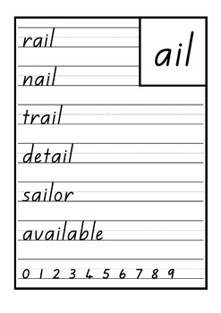 New Zealand Handwriting Copy Cards – word families