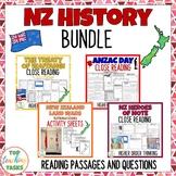 New Zealand History BUNDLE Reading Comprehension Passages