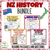 New Zealand History BUNDLE Reading Comprehension including