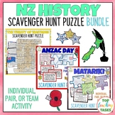 New Zealand History Reading Comprehension Scavenger Hunt Puzzle BUNDLE Waitangi