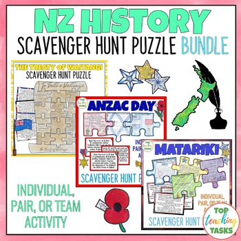 New Zealand History Reading Comprehension Scavenger Hunt Puzzle BUNDLE Waitangi