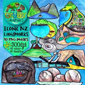 NZ Iconic Landmarks Clip Art {Kiwiana Sculptures, Buildings & Natural Features}