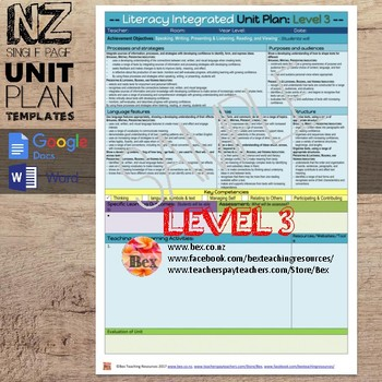New Zealand Integrated Literacy Unit Plan Template (Level 3 NZC)