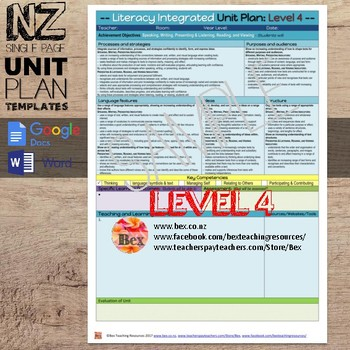 New Zealand Integrated Literacy Unit Plan Template (Level 4 NZC)