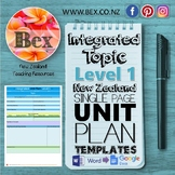 New Zealand Integrated Topic Unit Plan Template (Level 1 NZC)