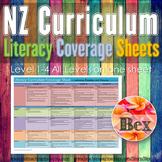 New Zealand Literacy Curriculum Coverage Sheet (Level 1-4 on one sheet)