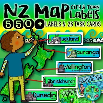 New Zealand Map labels {550+ Town, City & Region Labels}