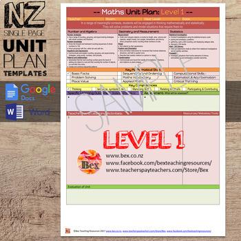 New Zealand Maths Unit Plan Template (Level 1 NZC)