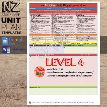 New Zealand Maths Unit Plan Template (Level 4 NZC)