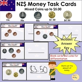 New Zealand Money Task Cards - Add Mixed Coins to Value of $5