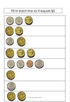 New Zealand Money - fill in the gap  to make the amount