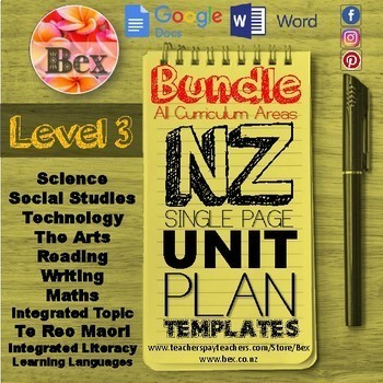 New Zealand Unit Plan Template Bundle (Level 3 NZC)