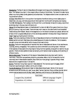 New Zealand - Review Article Facts History Questions Activities Word Search