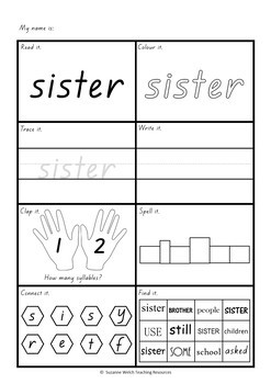 New Zealand Sight Words - Activity Sheets (Blue and Green)