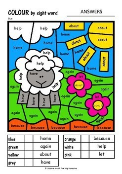 New Zealand Sight Words – Colour by Code – Yellow and Blue
