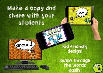 New Zealand Sight Words Digital Flash Cards Magenta-Orange for Google Drive®