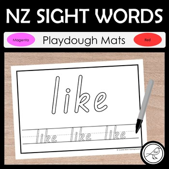 New Zealand Sight Words - Play dough Mats - Magenta and Red