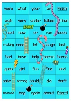 New Zealand Sight Words - SUPER Snakes and Ladders - Magenta to Orange Levels