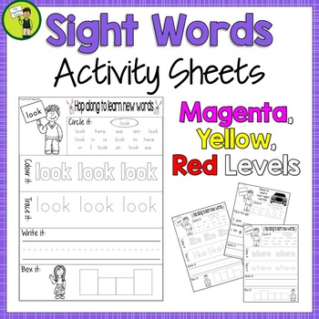 New Zealand Sight Words Activity Sheets Magenta Red Yellow Levels Bundle