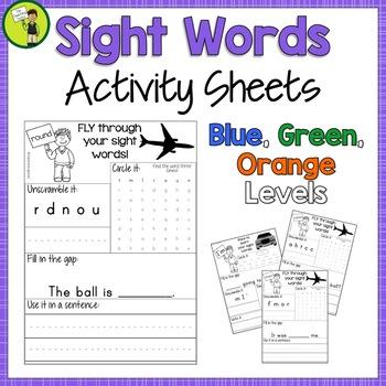 New Zealand Sight Words - Activity Sheets Blue, Green, Orange Levels