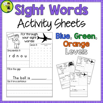 New Zealand Sight Words Activity Sheets Blue Green Orange Levels Bundle