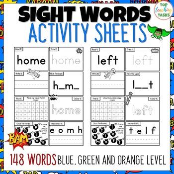 New Zealand Sight Words - SUPER Activity Sheets Blue - Green Levels