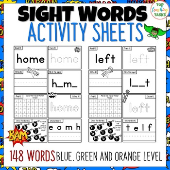 New Zealand Sight Words Activity Sheets Blue Green Orange Levels
