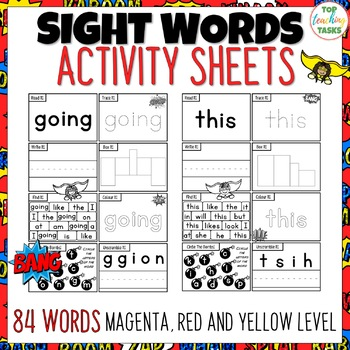 New Zealand Sight Words - SUPER Activity Sheets Magenta - Yellow Levels