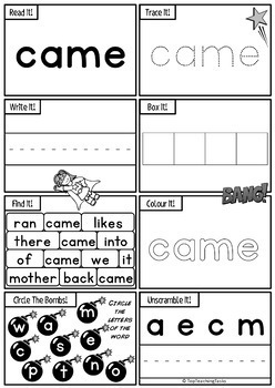 New Zealand Sight Words Activity Sheets Magenta Red Yellow Levels