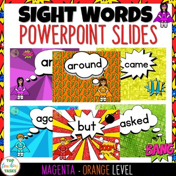 New Zealand Sight Words - SUPER PowerPoint Slides Magenta-Green