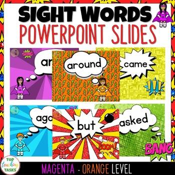 New Zealand Sight Words PowerPoint Slides Magenta-Orange