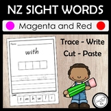 New Zealand Sight Words – Magenta and Red - Trace Write Cut Paste