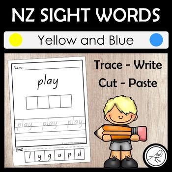 New Zealand Sight Words - 'Trace write cut and paste' activity - Yellow & Blue