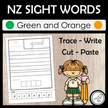 New Zealand Sight Words – 'Trace write cut paste' activity – Green & Orange