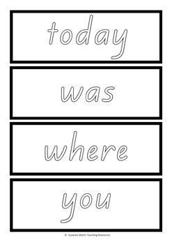 New Zealand Sight Words – word cards in outline font