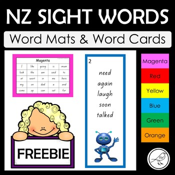 New Zealand Sight Words - word mats and word cards
