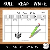 New Zealand Reading - Sight Words – 'roll, read, write' activity