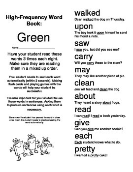 New and Improved High Frequency Words - Green Words