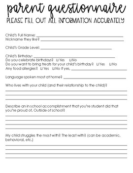 New and Improved Parent Questionnaire